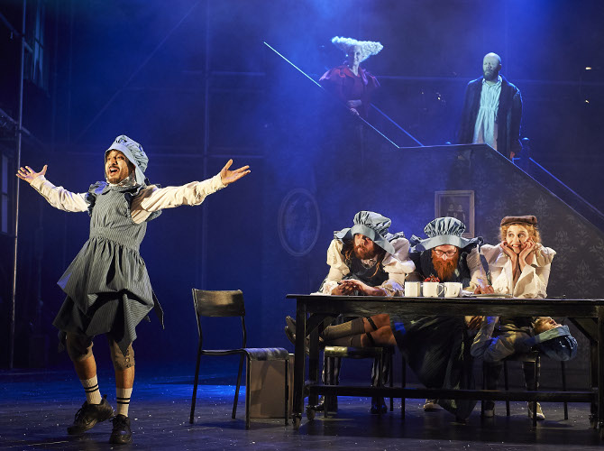Saikat Ahamed and ensemble in A Christmas Carol at Bristol Old Vic, credit Geraint Lewis