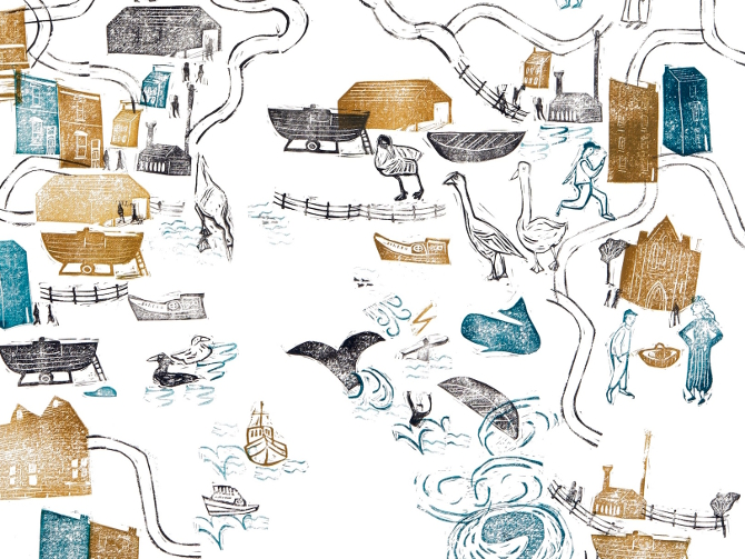 Crop of Icelandic Whale Man Story Map by Victora Willmott