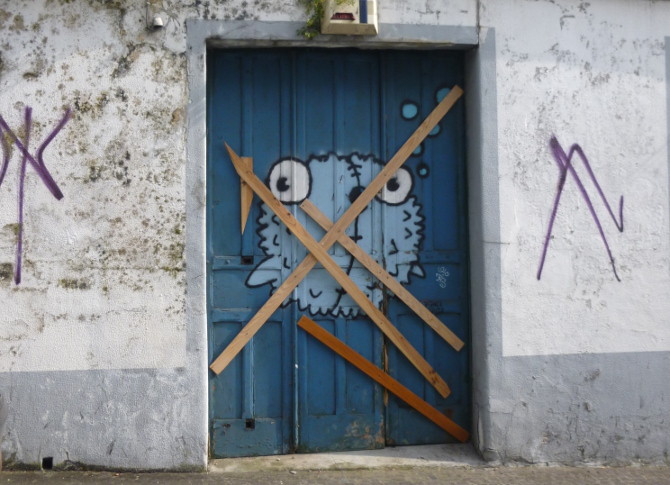 Azores pufferfish doorway by Judy Darley