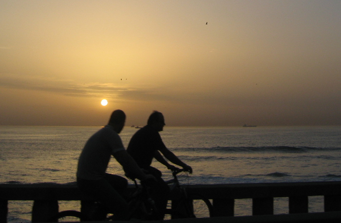 Foz bikes at sunset, Porto, by Judy Darley
