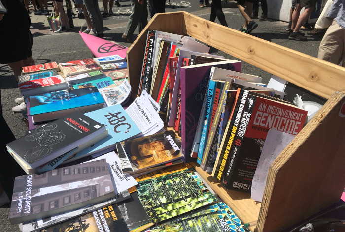 Extinction Rebellion Bristol_bookstall_15July2019_Photo by Judy Darley