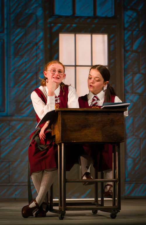 Malory Towers production photography by Steve Tanner. Rose Shalloo as Mary Lou Atkinson and Francesca Mills as Sally Hope.