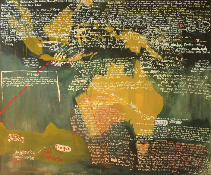 Map for Pakdhe Daliman and Uncle John 2012 acrylic on canvas 150x180cm by Ida Lawrence