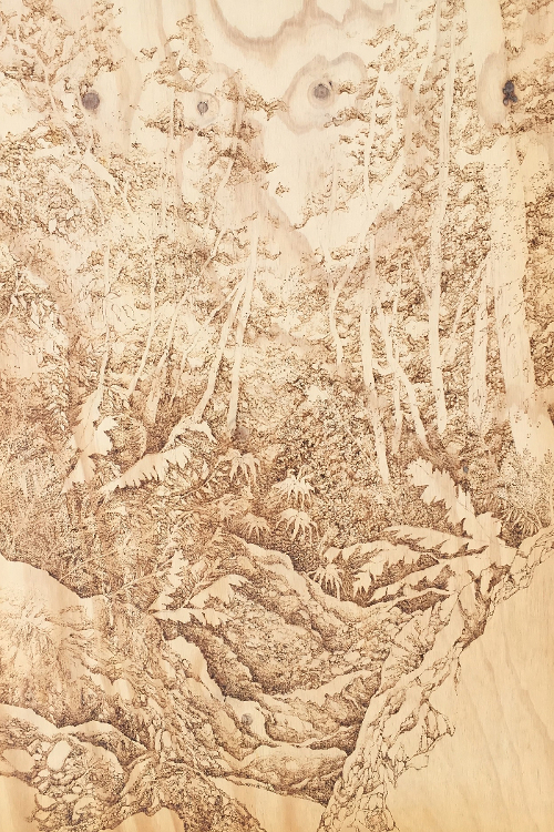 Untitled, pyrography on wood by Michelle Loa Kum Cheung