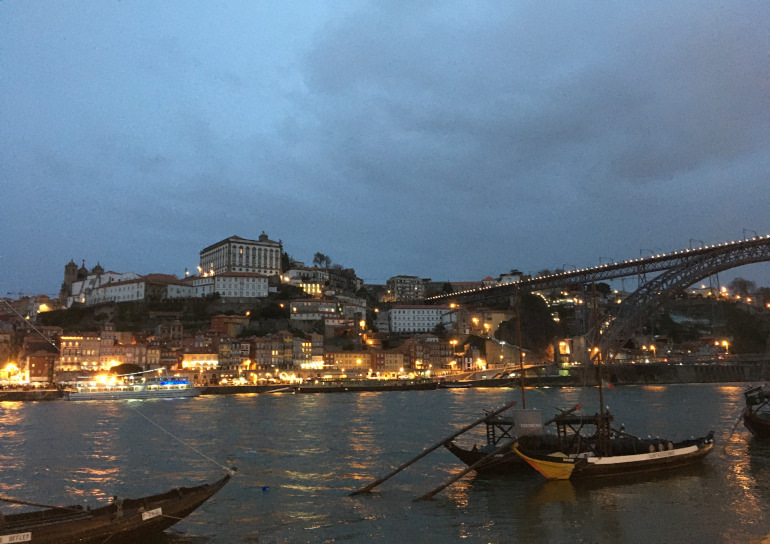 Rio Douro after nightfall by Judy Darley