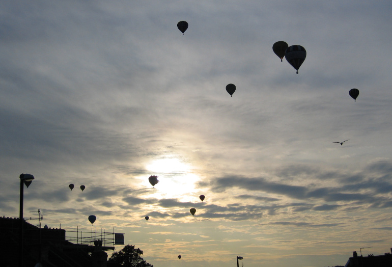 Hot air balloons over Bristol by Judy Darley