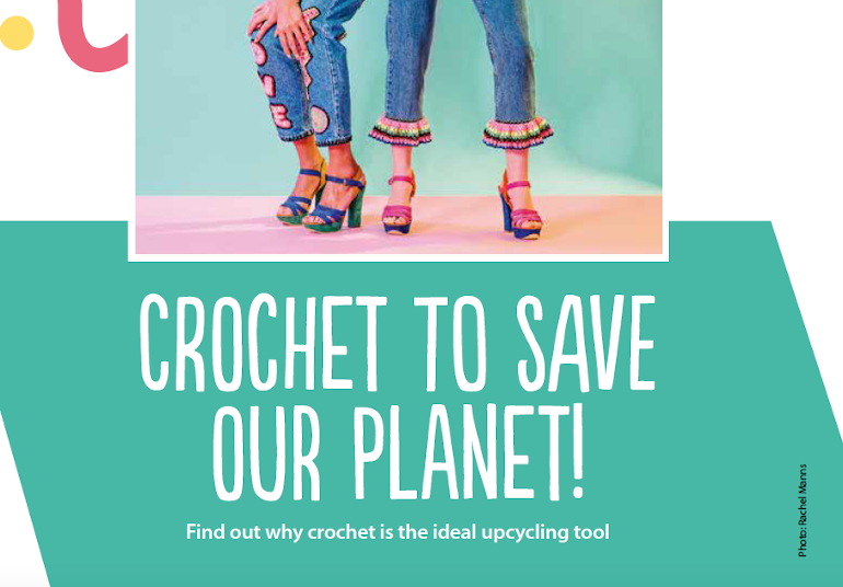 Crochet to save our planet. Image of people wearing denim trimmed with colourful crochet.