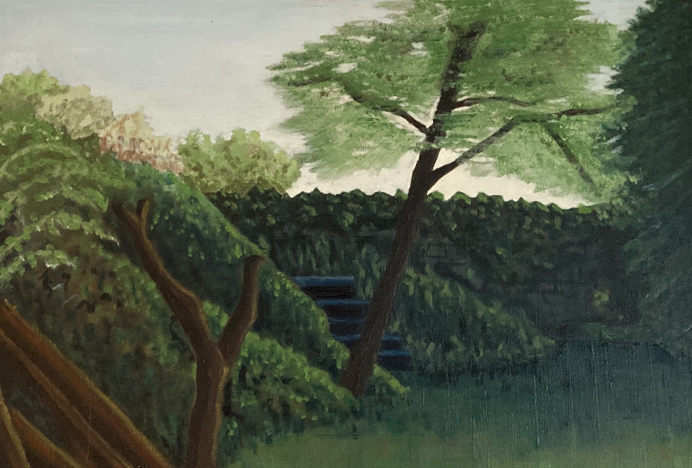 Mum's Garden. Painting of trees, grass and walls by Pauline Darley