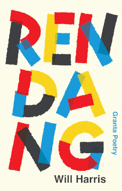 Will Harris RENDANG cover showing the title in red, yellow, black and blue lettering on a cream background.