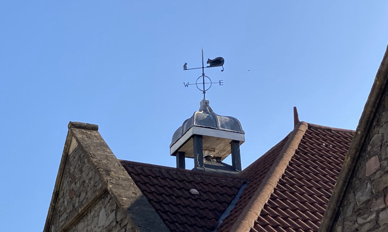 Mouse and cat weathervane by Judy Darley. Shows a metal weathervane on top of a school against a blue sky.