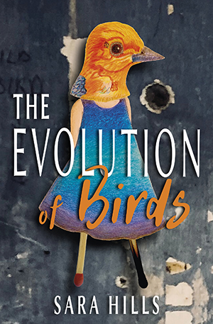 The-Evolution-of-Birds. Shows book cover of girl with matchstick legs and a bird's head.