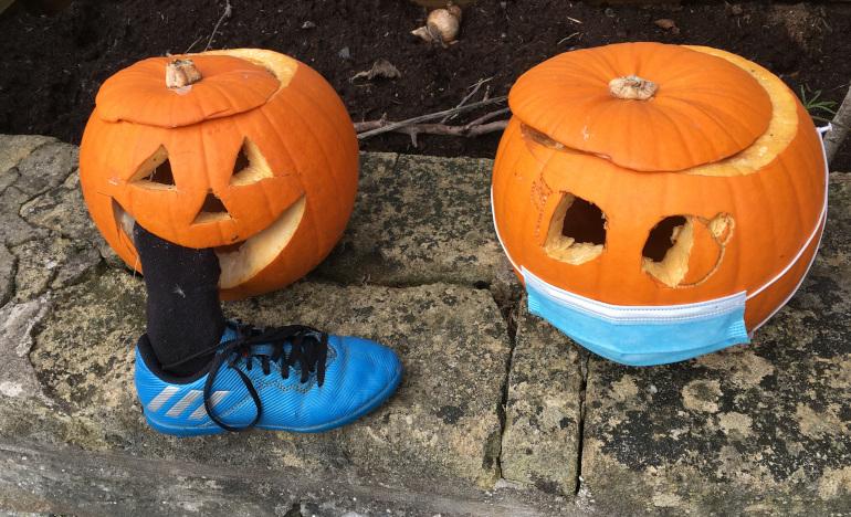 Pumpkin eating person. Photo by Judy Darley